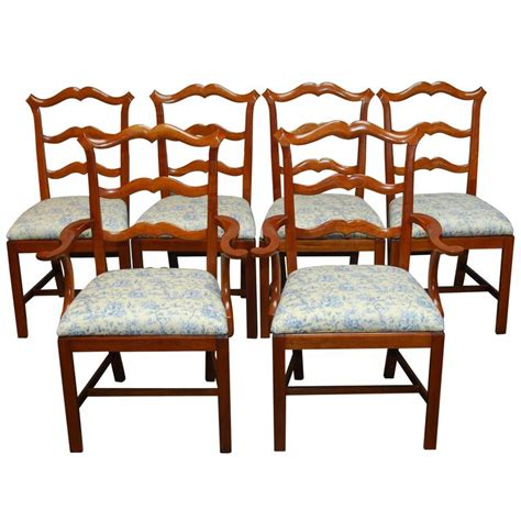 chippendale ladder back toile dining chairs for sale at