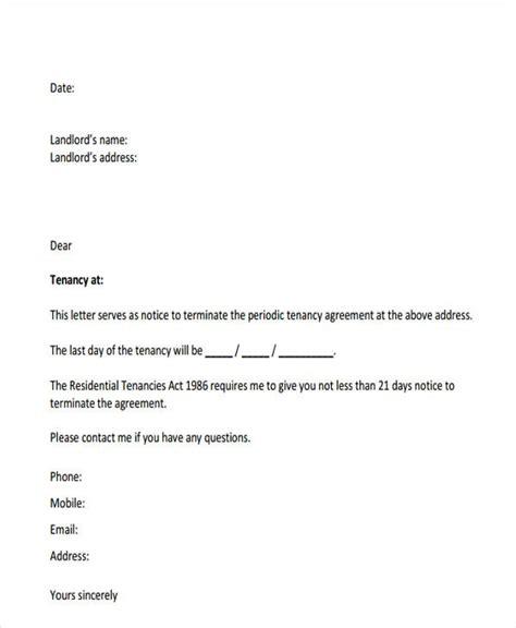 tenant letter templates sample format