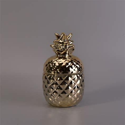 Handmade Jars - popular gold handmade pineapple ceramic candle jar with