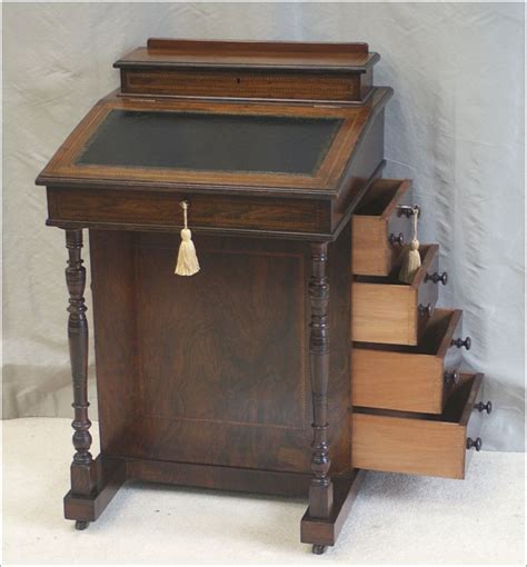 Small Antique Victorian Rosewood Davenport Desk Ref 4024 Small Antique Desk