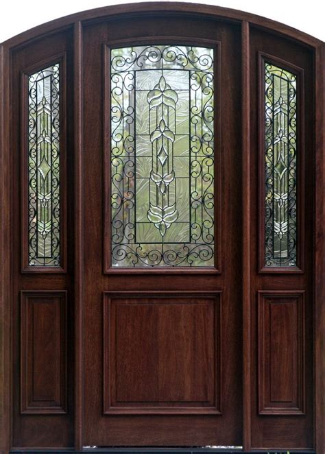 glass inlay front doors i this arch top front door with iron inlay front