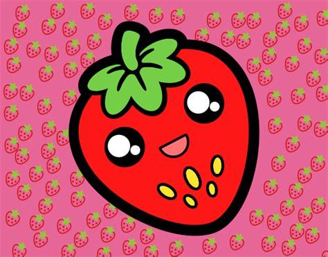 imagenes kawaii frutas dibujo de fresa kawaii pintado por en dibujos net el d 237 a