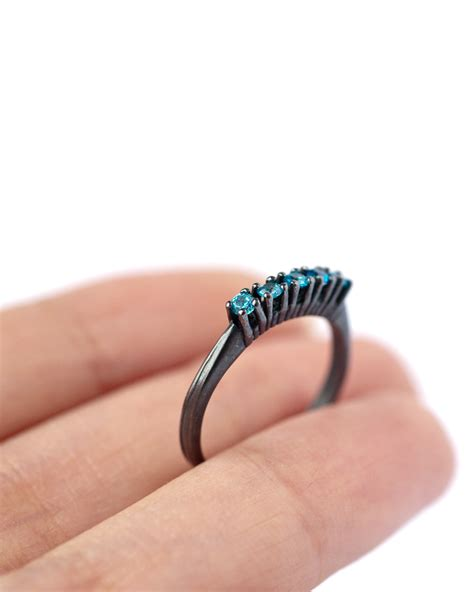 5 blue cubic zirconia ring oxidized silver ring