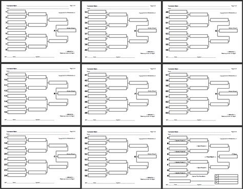 knockout draw sheet template blank bracket sheets strongvon tournament management system