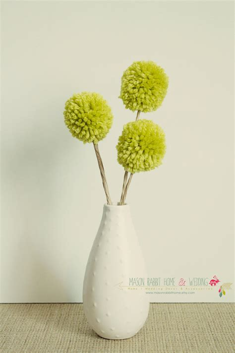 lime green home decor craspedia flowers wool billy button yarn pom pom flowers billy bobs craspedia by