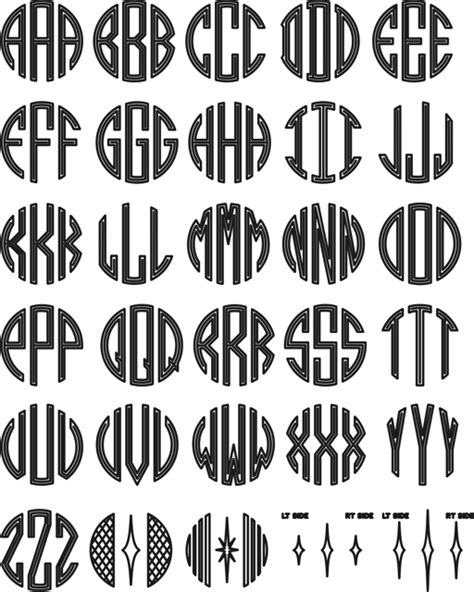 monogram template order fonts