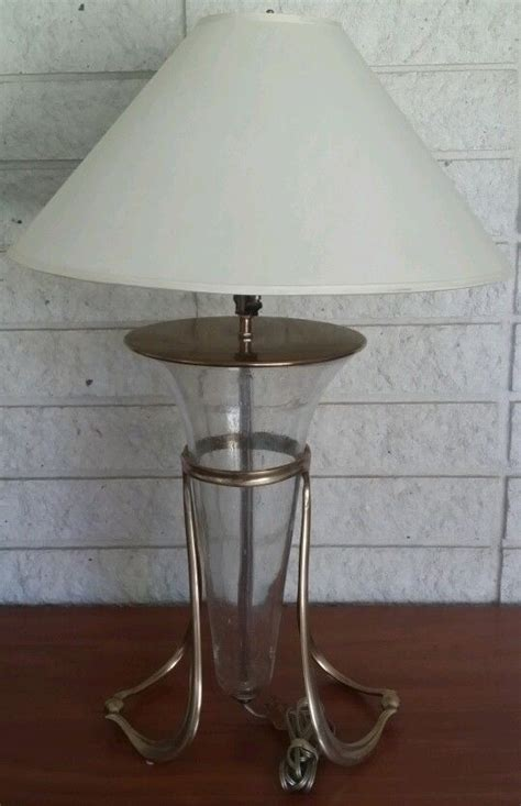 Glass L Base With Shade by Table L With Shade Brass Base Cone Shape Glass