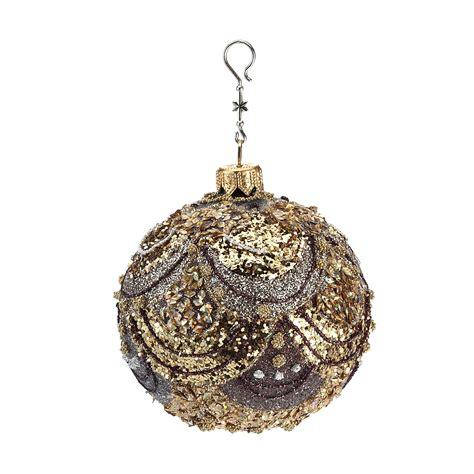 bronze gold glitter scallop ball christmas ornament gump s