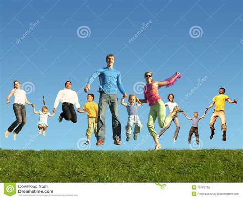 many jumping families on the grass collage stock images