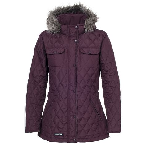 Padded Quilted Coats by Trespass Womens Trudey Casual Hooded Zip