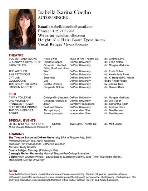 .sample actor resume acting resume template acting resume sample