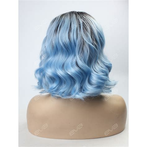 ombre synthetic hair sky blue ombre lob synthetic lace front wig synthetic