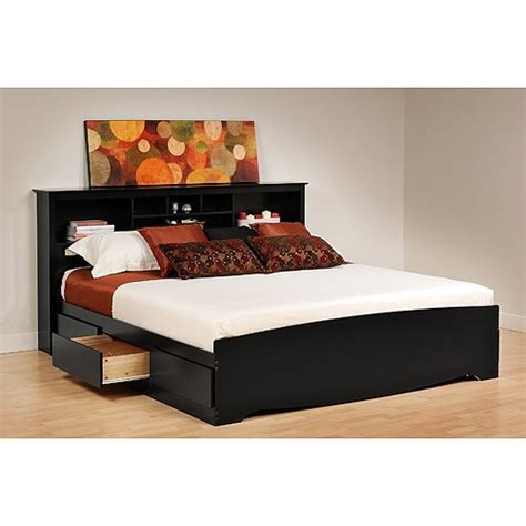 King Size Headboard With Storage Black 6 Drawer King Size Platform Storage Bed Bookcase Headboard Ebay