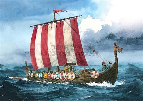 viking long boat painting illustration ancient transport viking longboat