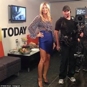 Heidi Klum On The Blvd Today by Heidi Klum Is Fresh Faced In A Snakeskin Print Dress As