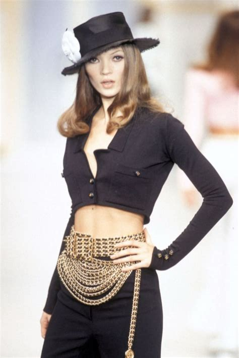 Catwalk To Sidewalk Kate Moss In Chanel by Chanel Vintage Runway Black Gold Multi Strand Chain Belt