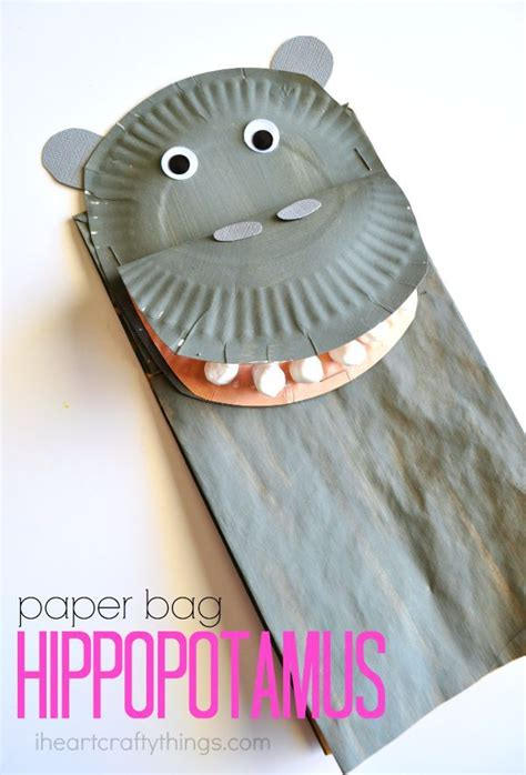 hippo paper plate craft 1000 ideas about paper bag puppets on paper