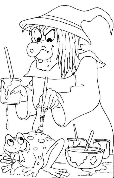 mean witch coloring page witch paints a frog coloring pages hellokids com