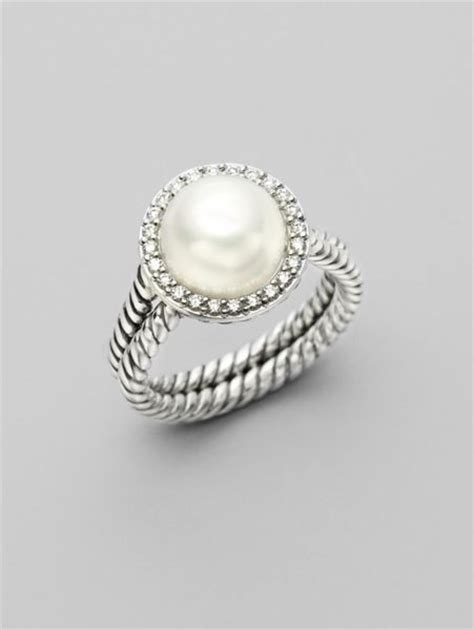 david yurman white pearl sterling silver ring