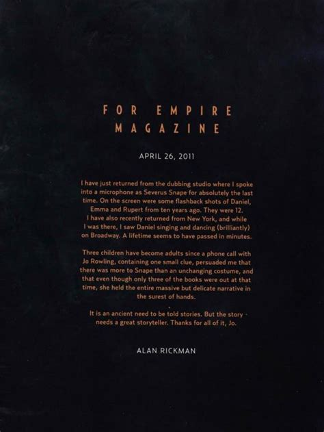 Harry Potter Reading His Acceptance Letter alan rickman read his heartfelt goodbye letter to