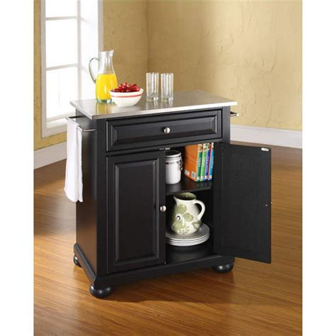 crosley alexandria kitchen island crosley furniture alexandria stainless steel top portable kitchen cart or island in black