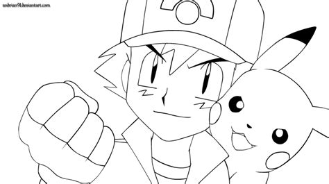 Ash And Pikachu By Andrian91 On Deviantart Ash And Pikachu Coloring Pages