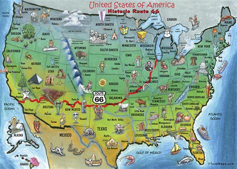 map of route 66 usa historic route 66 map painting by kevin middleton