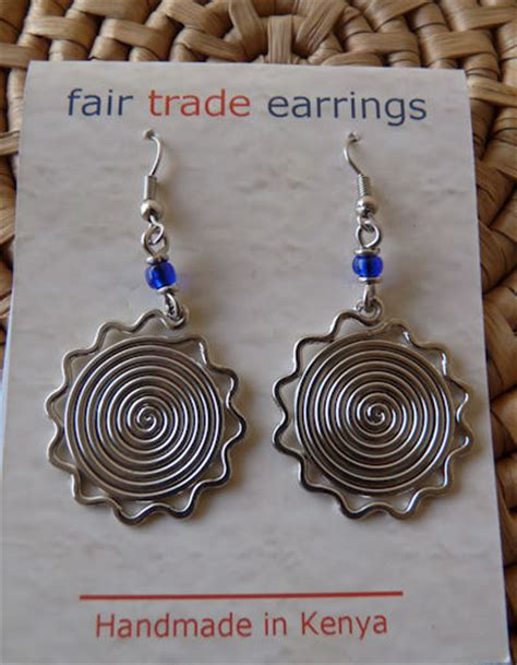 Zoe Creations Fairtrade Silver Jewellery by Jewelry Silver Wire Sun Coils Earrings Kenya Fair
