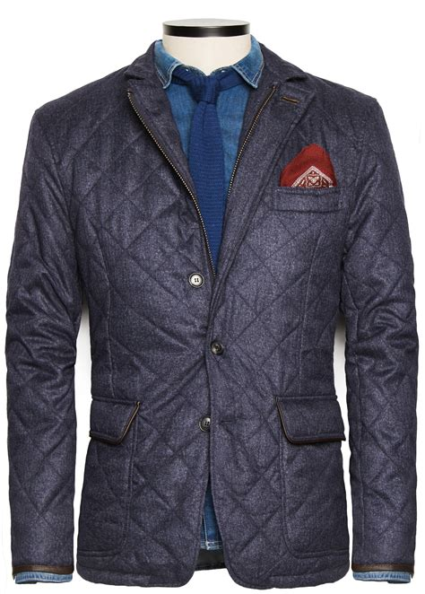 Jaket Hushkies mango herringbone husky jacket in blue for lyst