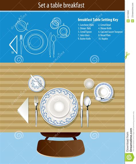 how to set a table for breakfast table setting breakfast stock vector image 44170892