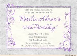 lavender birthday 65th party invitation soft gray custom