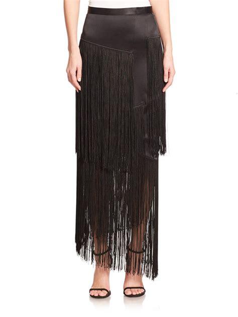 tamara mellon silk layered fringe maxi skirt in black lyst