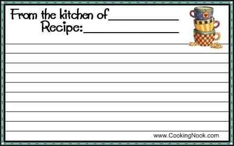 printable recipe cards  cookingnookcom