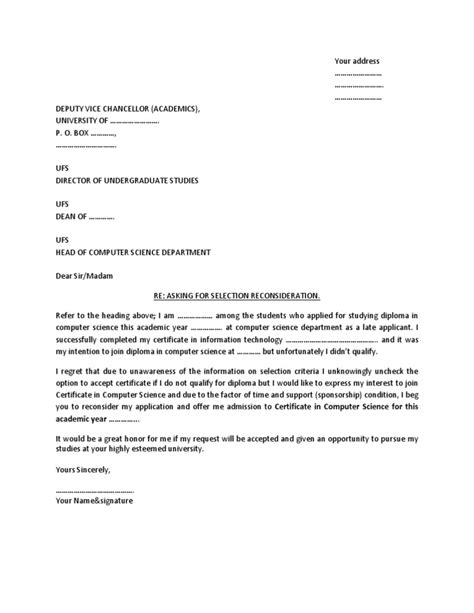 School Admission Consideration Letter Sle Letter For Admission Reconsideration