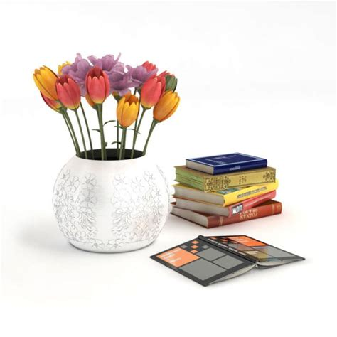 home decor books and vase with flowers 3d model obj