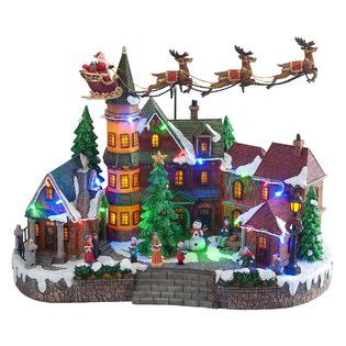 animated light up christmas village scene up down flying