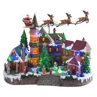 animated light up christmas village scene up down flying