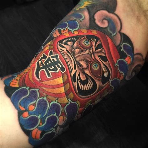 tattoo instagram japan inner arm daruma done today by chriscrookswhitedragon