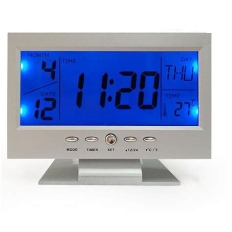 Led Light Backlight Alarm Clock With Temperature 510 fashion voice digital snooze led alarm clock blue backlight temperature display led