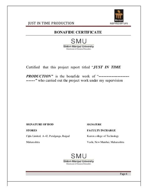 Mba Project Bonafide Certificate by Project Report On Just In Time Production
