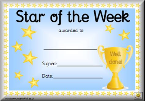 printable star of the week form awards