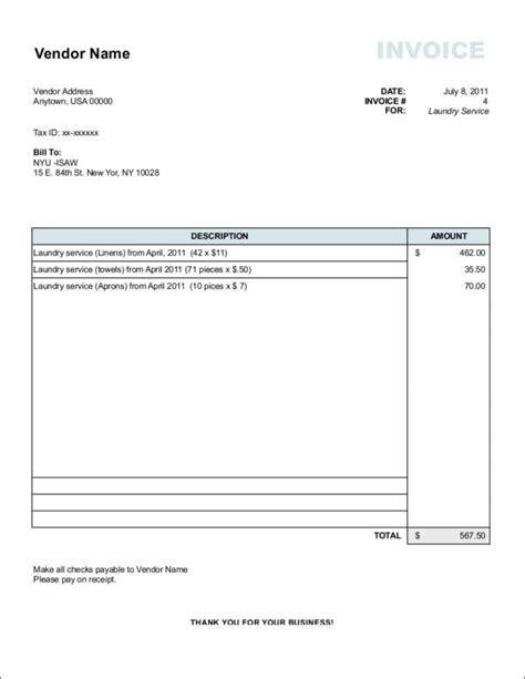 vendor invoice template 9 vendor invoice sles templates pdf