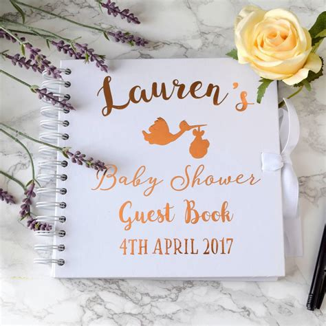 Personalised Baby Shower Book by Personalised Gold Baby Shower Guest Book By The Alphabet