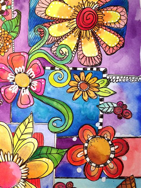 Watercolor Flower Doodles Mixed Media by Glimmerbug Art