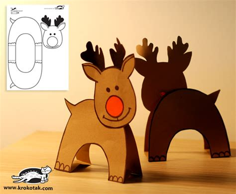 How To Make A Paper Reindeer - krokotak two paper reindeers