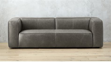 cb2 leather sofa lenyx grey leather sofa cb2