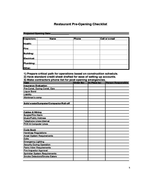 Restaurant Pre Opening Checklist Free Download Restaurant Closing Checklist Template