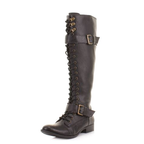 womens rocket beany black knee high lace up