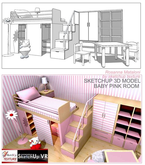 3d home design by livecad tutorials 22 furnishing and 3d model baby furniture pink room vray sketchup tut