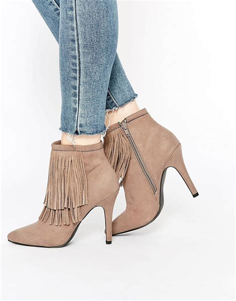 new look shoes new look new look shoe boots with fringing at asos